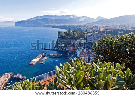 Picturesque morning view of Sorrento city and Gulf of Naples, Campania province, Italy - stock photo
