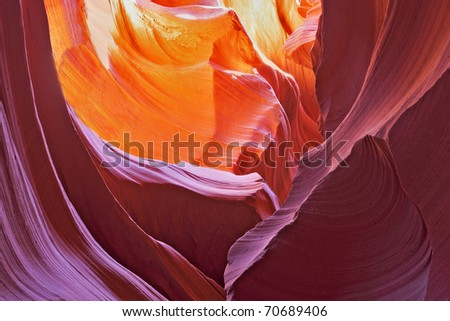 Picturesque multi-color slot-hole canyon Antelope. - stock photo