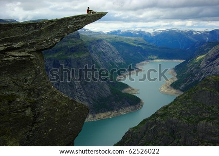 Picturesque Norway landscape.Trolltunga - stock photo