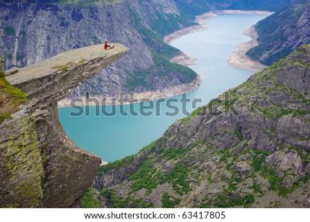 Picturesque Norway landscape.Trolltunga - stock photo