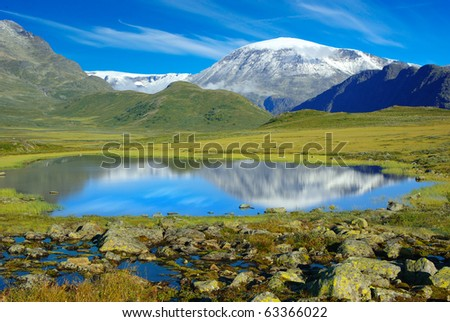 Picturesque Norway mountain landscape. - stock photo