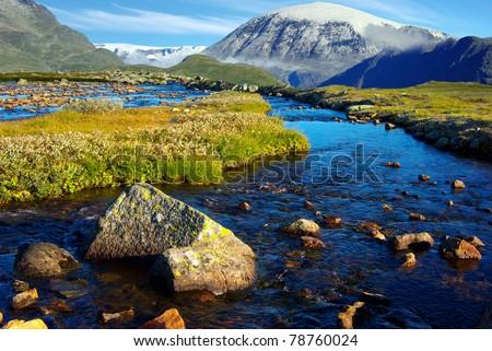 Picturesque Norway mountain landscape. Jotunheimen National Park - stock photo
