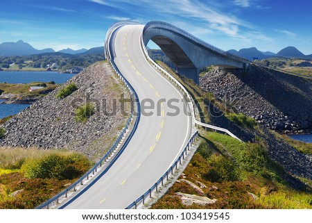Picturesque Norway sea landscape with bridge. Atlanterhavsvegen