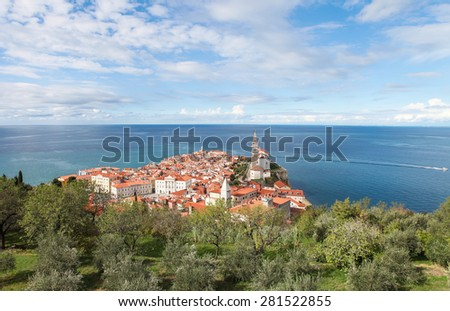 Picturesque old town Piran - Slovenian adriatic coast, Aerial view - stock photo
