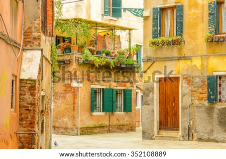 Picturesque old town Venice, Italy. - stock photo