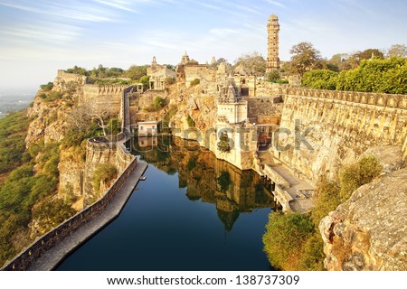 Picturesque panorama of Cittorgarh Fort, India - stock photo