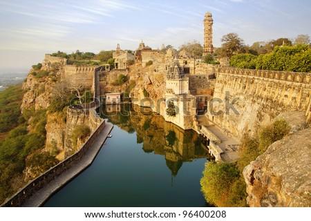 Picturesque panorama of Cittorgarh Fort, India - stock photo