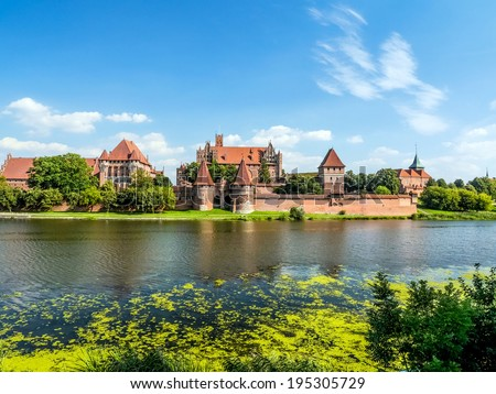 Picturesque panorama of Malbork castle in Pomerania region, Poland - stock photo