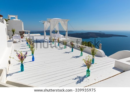 Picturesque place for the wedding celebration of the sea in the background, Greece