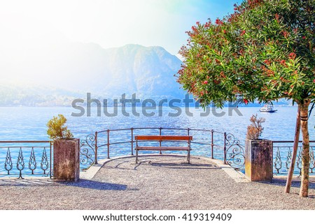 Picturesque place to overview Como lake, Bellagio, Italy. - stock photo