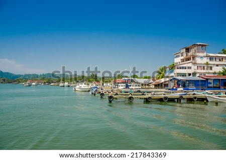 picturesque port harbor pier dock in livingston guatemala - stock photo