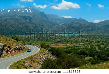 Picturesque road from Lasithi Plateau. Crete. Greece - stock photo