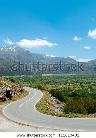 Picturesque road from Lasithi Plateau. Crete. Greece