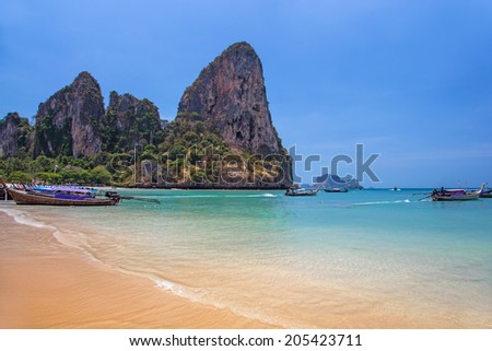 Picturesque rocks at the seashore of Railay bay, Krabi province, Thailand - stock photo
