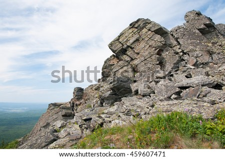 Picturesque rocks on top of Urenga ridge, South Ural, Russia