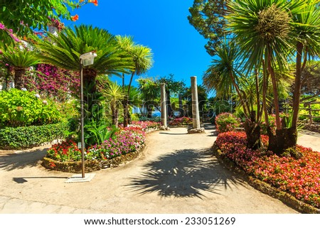 Picturesque romantic flower garden,Ravello,Amalfi coast,Italy,Europe - stock photo