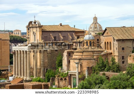 Picturesque ruins in the center of Rome, Italy - stock photo