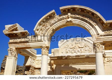 Picturesque ruins of the ancient city Ephesus, Turkey. - stock photo