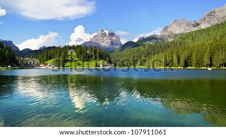Picturesque rural mountain landscape. Dolomites. Italy Panorama