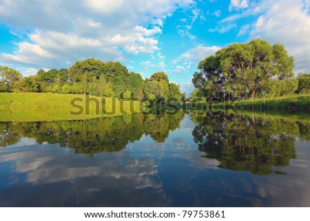 picturesque scene of beautiful rural lake