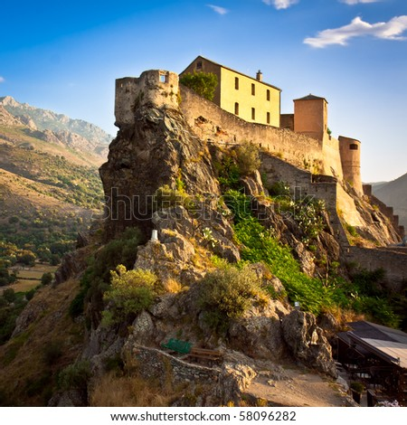 Picturesque scenery of fortress in Corte - stock photo
