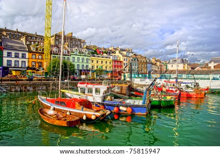Picturesque scenery of the Cobh town harbour in Ireland, Cork County, HDR technique