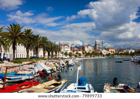 Picturesque scenery of the waterfront and harbor in Split, Croatia, Dalmatia County