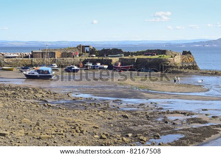 Picturesque Scottish harbour of Kinghorn - stock photo