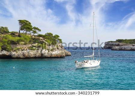 Picturesque sea landscape with bay. Mallorca, Balearic Islands in Spain - stock photo