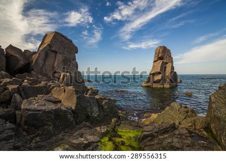 Picturesque sea landscape with rocky shore. Bulgaria. - stock photo