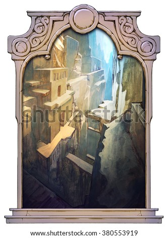 Picturesque sketch of the fantasy ruins of an ancient temple or city framed with a stone decorated hand drawn arch - stock photo