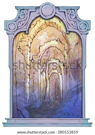 Picturesque sketch of the ruins of an ancient archway in some fantasy land framed with a stone decorated hand drawn arch - stock photo