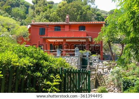 Picturesque small residential house on Elba Island, Marciana, region of Tuscany, Italy - stock photo