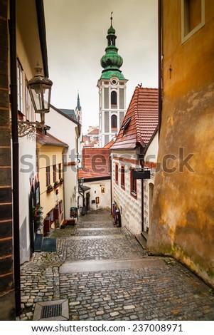 Picturesque street in Cesky Krumlov, Czech Republic - stock photo