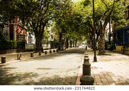 picturesque street in la Mariscal area Quito Ecuador South America - stock photo