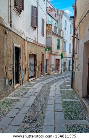 picturesque street in Sassari old town - stock photo