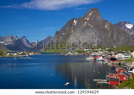 Picturesque town of Reine by the fjord on Lofoten islands in Norway