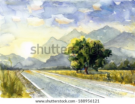Picturesque trees in sunset on the road watercolor painting poster card background - stock photo