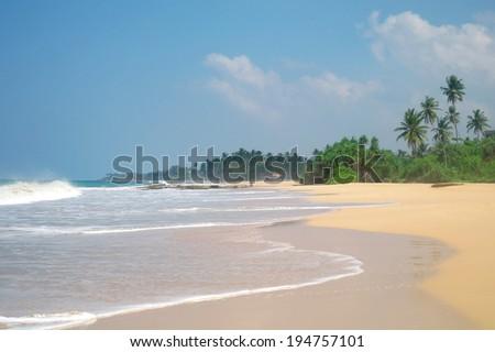 Picturesque  tropical beach. Sri Lanka  - stock photo