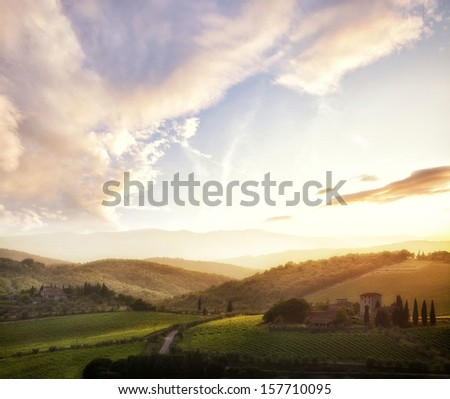 Picturesque Tuscany landscape at sunset, Italy - stock photo