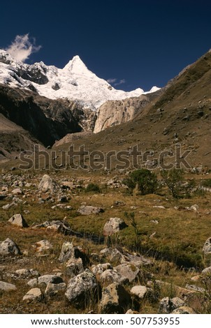 Picturesque valley between highest mountain peaks in Peruvian Andes, Cordillera Blanca