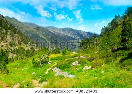 picturesque valley in high mountains. Andorra, Pyrenees - stock photo