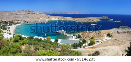 Picturesque view of Lindos bay and beach - stock photo