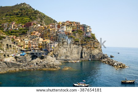 Picturesque view of Manarola harbour, Laguria, Cinque Terre, Italy - stock photo
