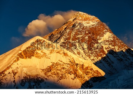 Picturesque view of Mount Everest at sunset - stock photo