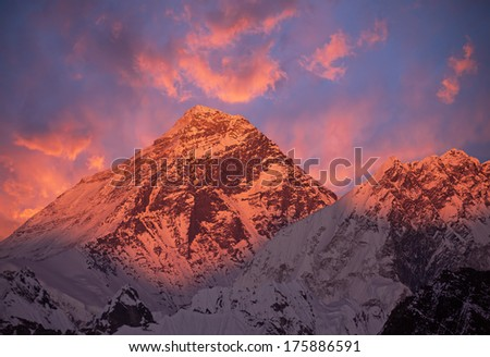 Picturesque view of Mount Everest (8848 m) at sunset. Canon 5D Mk II. - stock photo