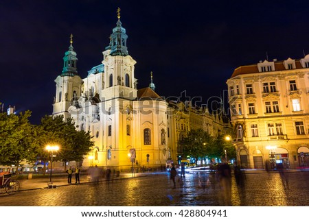 Picturesque view of  St. Nicholas' church. Colorful night scene in Prague, Czech Republic, Europe. Artistic style post processed photo. - stock photo