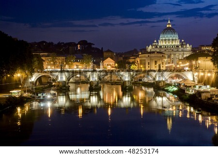 Picturesque view of St. Peter's Basilica from river Tiber - stock photo