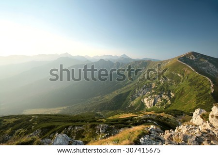 Picturesque view of the Tatra Mountains, Carpathians. - stock photo
