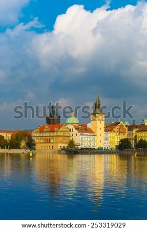 Picturesque view of the Vltava River and Old Town in Prague, Czech Republic - stock photo